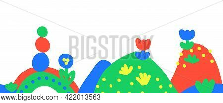 Seamless Kids Drawing Border Vector. Childlike Hand Drawn Hills, Flowers Repeating Horizontal Repeat