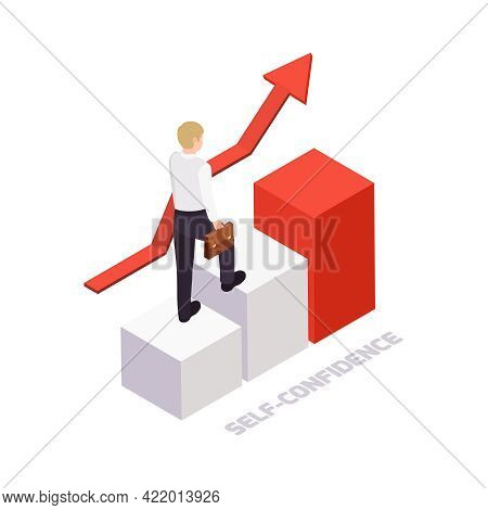 Self Confidence Concept With Isometric Character Going Up 3d Vector Illustration
