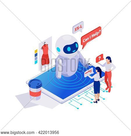 Customers Asking Questions To Online Shop Chatbot 3d Isometric Vector Illustration