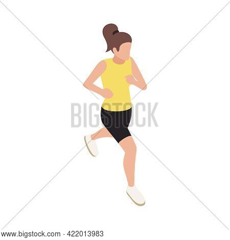 Isometric Icon Of Running Sporty Woman On White Background 3d Vector Illustration