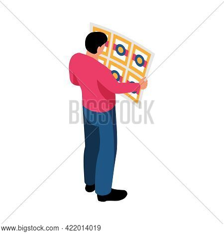 Polygraphy Isometric Icon With Man Looking At Colorful Printed Page Vector Illustration