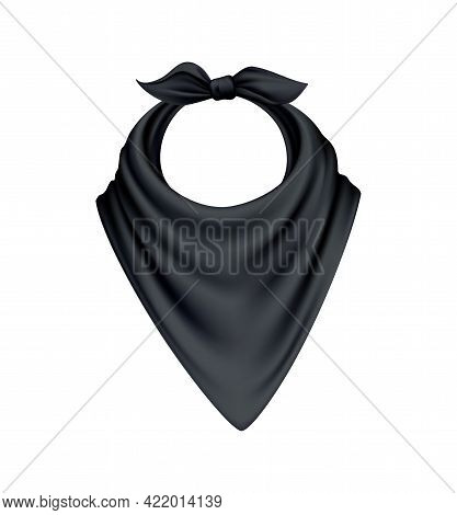 Realistic Knotted Black Kerchief On White Background Vector Illustration