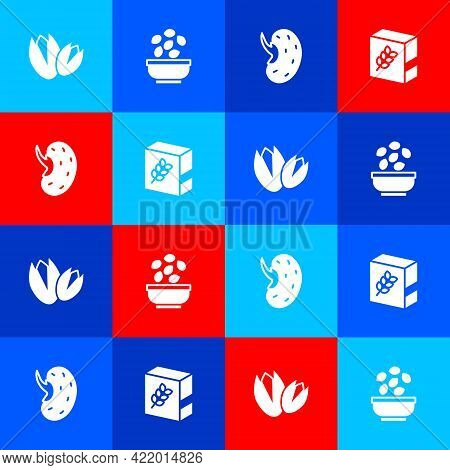 Set Pistachio Nuts, Seeds In Bowl, And Flour Pack Icon. Vector