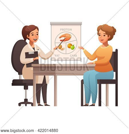 Cartoon Icon With Woman Consulting With Nutritionist Vector Illustration