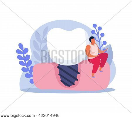 Flat Composition With Dental Implant And Tiny Man Character Vector Illustration