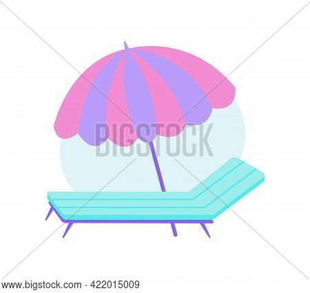 Flat Icon With Umbrella And Lounge On Beach Vector Illustration