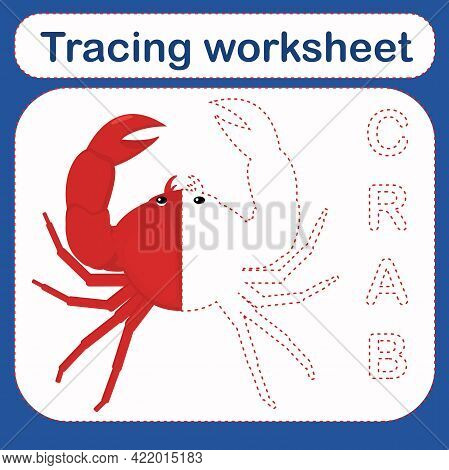 Vector Illustration Of A Children's Game With A Crab On The Theme Of The Sea. Preschool Worksheet Fo