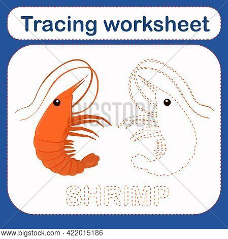 Vector Illustration Of A Children's Game With A Shrimp On The Theme Of The Sea. Preschool Worksheet