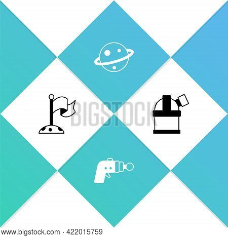 Set Moon With Flag, Ray Gun, Planet Saturn And Astronomical Observatory Icon. Vector