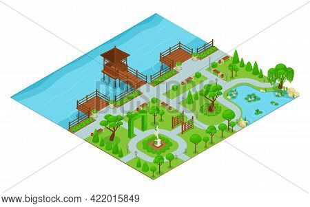 Isometric Landscape Design Park Composition Park With Walking Paths By The Waterfront With A Gazebo