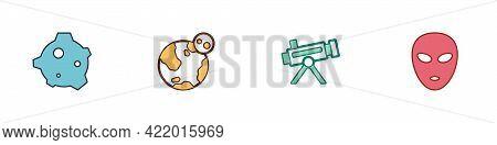 Set Asteroid, Earth Globe, Telescope And Alien Icon. Vector