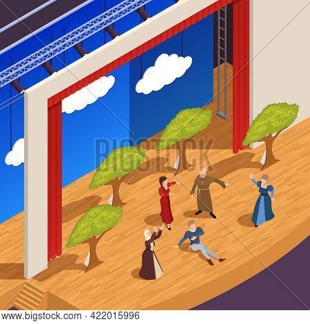 Grand Theatre Isometric Background With Drama Performance Symbols Vector Illustration