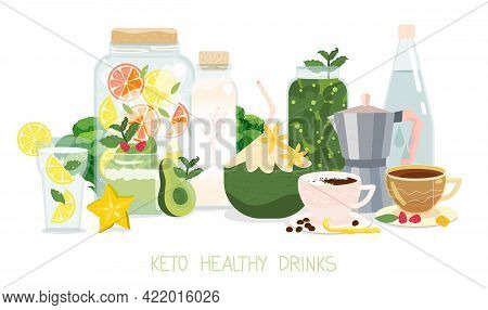 Keto Diet Approved Drinks And Beverage Set. Healthy Ketogenic Hot And Cold Drinks On White Backgroun