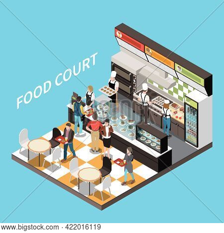 Food Court Coffee Bar Isometric View Desserts Display Checkout Counter Cashier Personnel Customers C