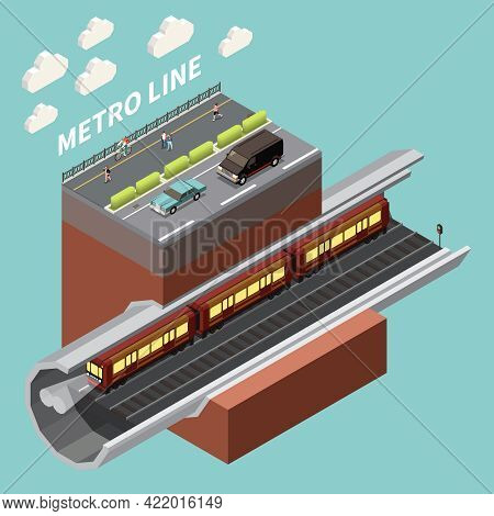 Urban Infrastructure Network Isometric Element With Underground Metro Line Subway Tunnel And City St