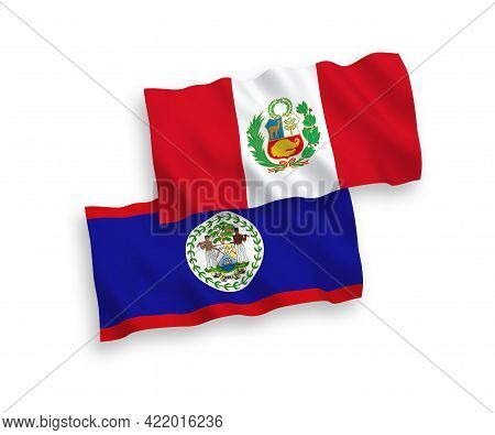 National Fabric Wave Flags Of Belize And Peru Isolated On White Background. 1 To 2 Proportion.