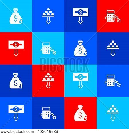 Set Money Bag, Gold Bars, Dollar Rate Decrease And Calculation Of Expenses Icon. Vector