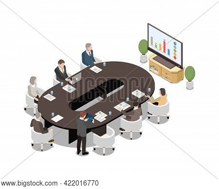 Business People Sitting At Oval Desk Watching Lcd Screen Presentation In Meeting Room 3d Isometric V