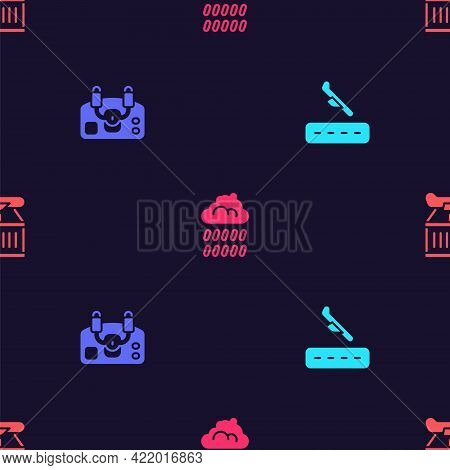 Set Plane Landing, Aircraft Steering Helm, Cloud With Rain And On Seamless Pattern. Vector
