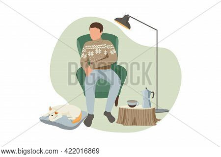 Flat Composition With Man And Dog Resting In Hygge Style Living Room Vector Illustration