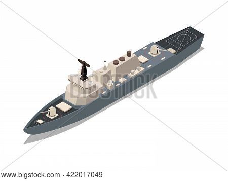 Warship Battle Ship Isometric Icon 3d Vector Illustration