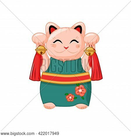 Maneki Neko In A Kimono. Japanese Cat For Good Luck. Vector Illustration.