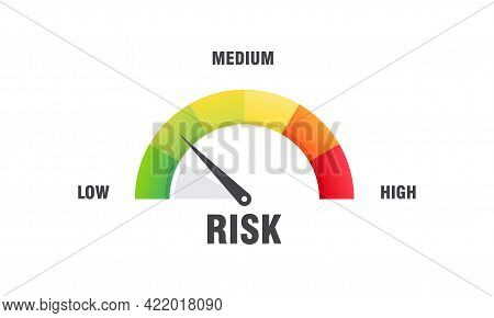 High Risk Concept On Speedometer Vector Illustration, Speedometer Icon. Colorful Infographic Gauge E