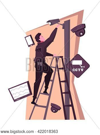 Security Service Flat Composition With Character Installing Surveillance Camera Vector Illustration