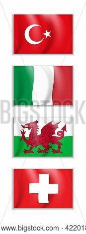 Set Of Flags Of Turkey, Italy, Wales And Switzerland. Business, Travel, International Relations Conc