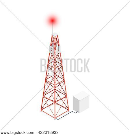 Isometric Icon With Wireless Antenna Telecommunication Tower On White Background Vector Illustration