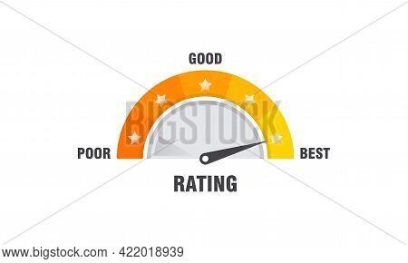 Rating Scale Illustration Template, Satisfaction Meter. Rating Stars. Minimum To Maximum Indicator V