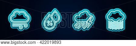 Set Line Windy Weather, Water Drop Percentage, Cloud With Rain And Lightning And . Glowing Neon Icon