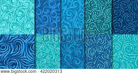 Set Of 10 Seamless Vector Patterns Of Spirals, Waves And Corners.abstract Seamless Texture Of Curls