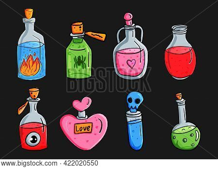 A Set Of Magic Potions. Cartoon Bottles Or Flasks. Poison, Love Potion And Antidote. Vector Illustra