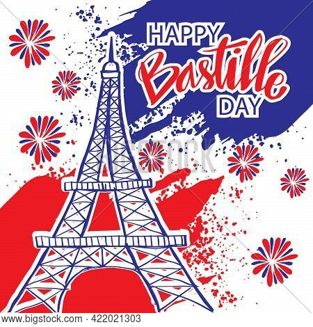 Happy Bastille Day, 14th Of July. Holiday Greeting Card With Eiffel Tower.