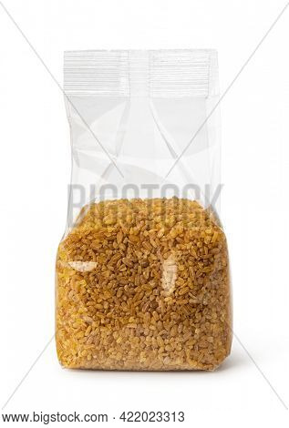 Plastic transparent bags with bulgur. isolated on white background.