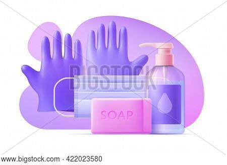 3d Template Personal Protectiven Equipment On Background Of Abstract Shapes. Vector Illustration Ppe
