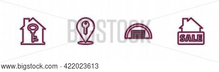 Set Line House With Key, Garage, Location And Hanging Sign Sale Icon. Vector