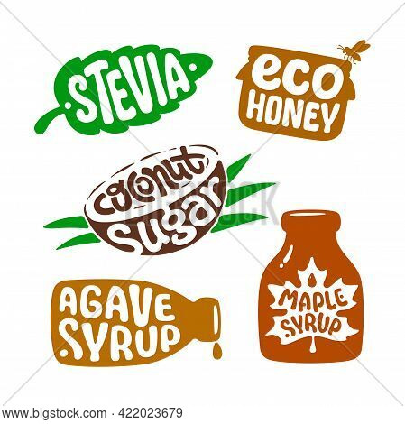 Isolated Sticker For Packaging Healthy Natural Organic Nutrition. Vector Label Stevia, Eco Honey, Co