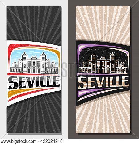 Vector Vertical Templates For Seville, Decorative Leaflet With Line Illustration Of Seville City Sca