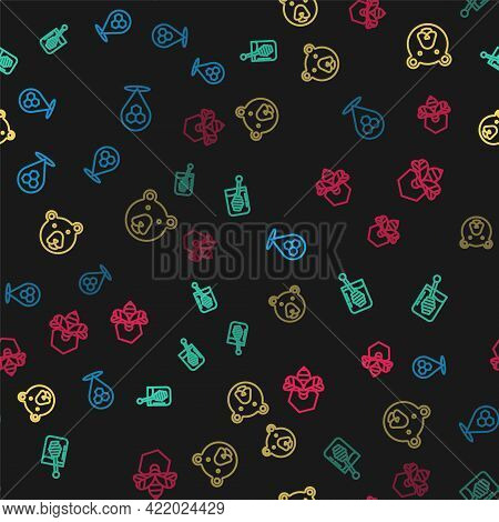 Set Line Honeycomb Bee Location, Dipper Stick, Bear Head And Bee And Honeycomb On Seamless Pattern.
