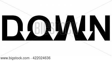 Sign Logo Down Arrow Word, Vector Word Down Arrow