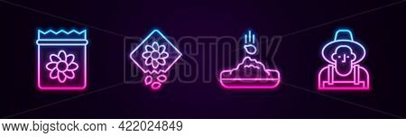 Set Line Pack Full Of Seeds Of Plant, , Seed And Farmer In The Hat. Glowing Neon Icon. Vector