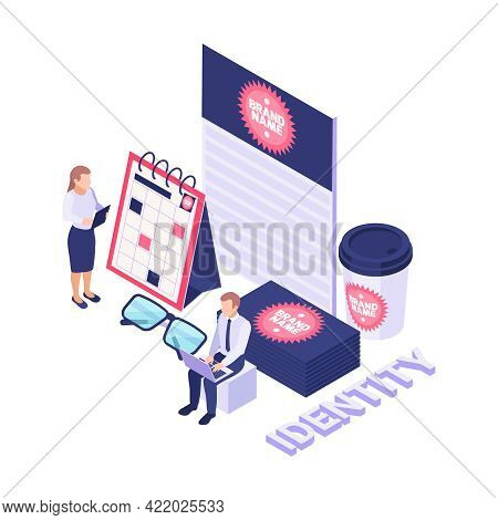 Brand Name Creating Identity Isometric Icon With Various 3d Objects On White Background Vector Illus