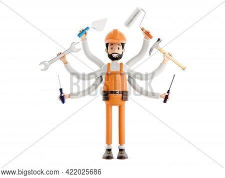 Handyman Concept, Builder Plumber Or Painter Plasterer Cartoon Character, Funny Worker Or Engineer W