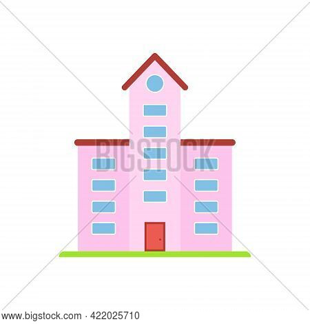 Pink Building With Red Rooftop. Modern House Or Real Estate Symbol In Flat Style. Hotel Or School Bu