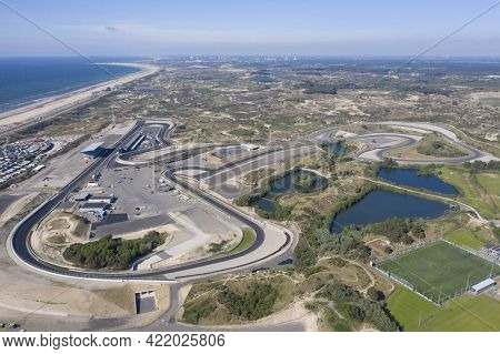 Zandvoort ,the Netherlands -27 Mei 2020:   Drone View Of The Renewed Formula 1 Circuit Zandvoort. Ne