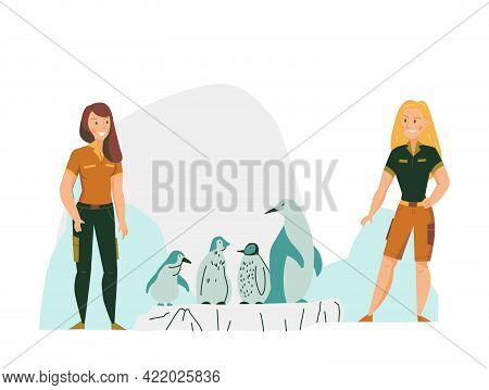Flat Composition With Two Women Zoo Keepers And Penguins Vector Illustration