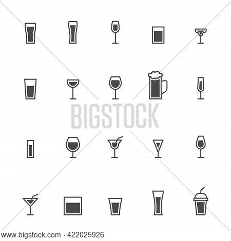 Glass Icons Set. Drinks Black Outline Group. Glassware Linear Collection. Сoffee, Vodka, Beer, Champ