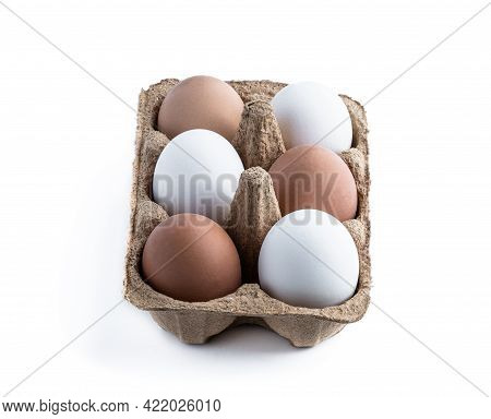 Free  Range Different Colors Eggs In Cardboard Container Isolated On White